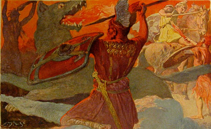 Odin and Fenriswolf, Freyr and Surt by Emil Doepler (1905)