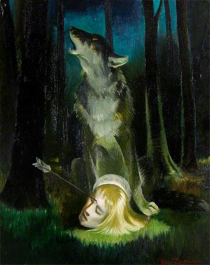 Wolf Guarding the Head of St Edmund by Doris Clare Zinkeisen